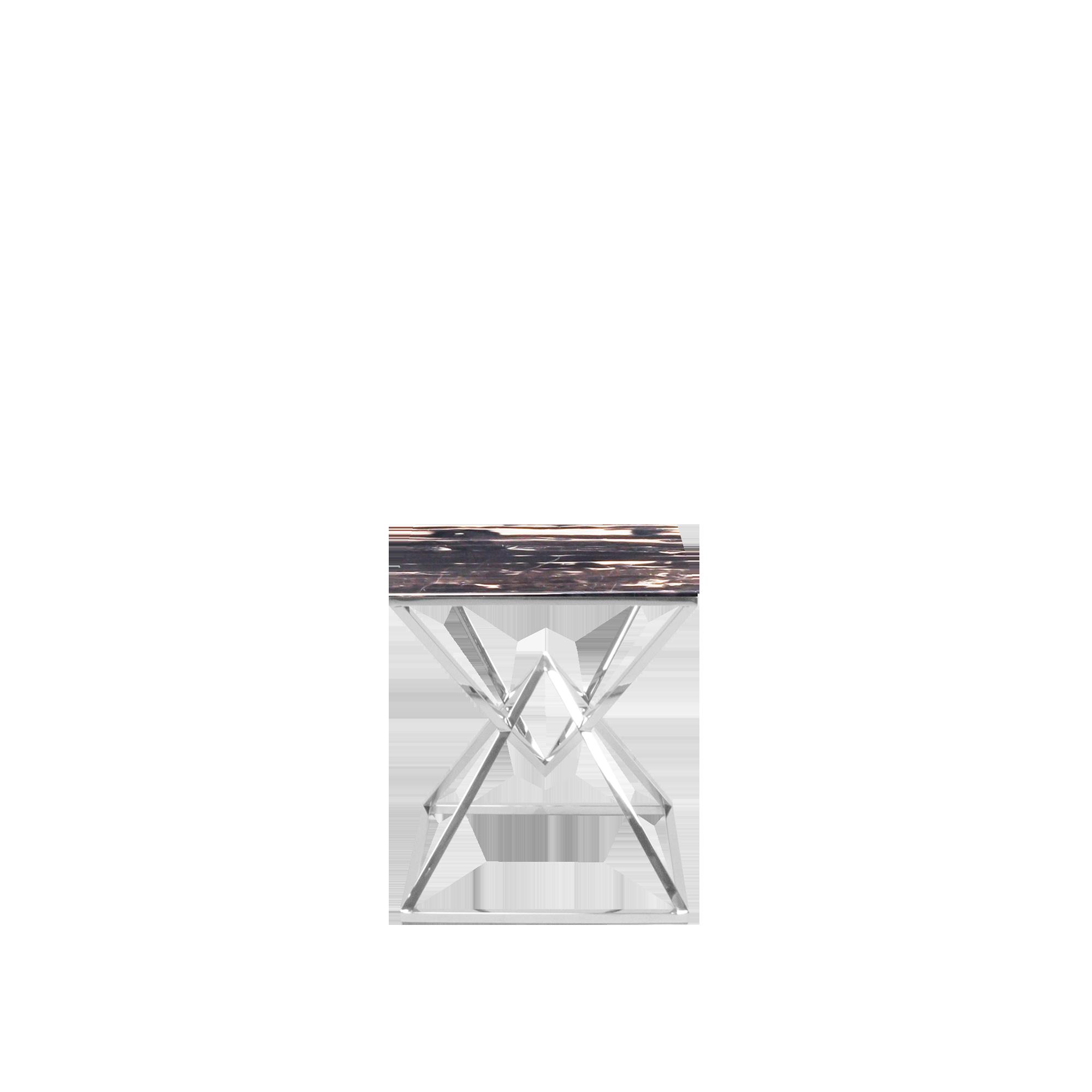 Xavier Rectangular Marble Side Table Silver Perlatino