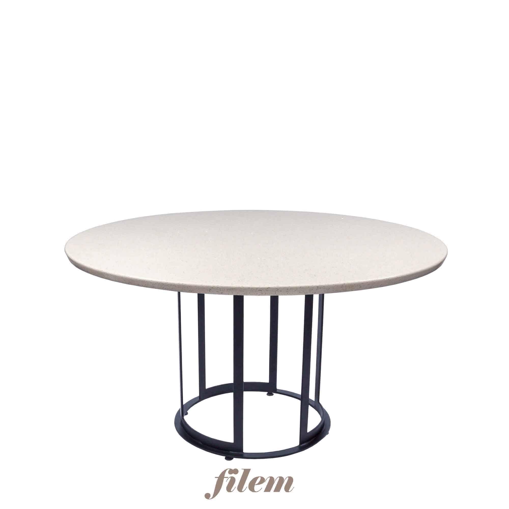 Decasa Round Quartz Dining Table Blanco