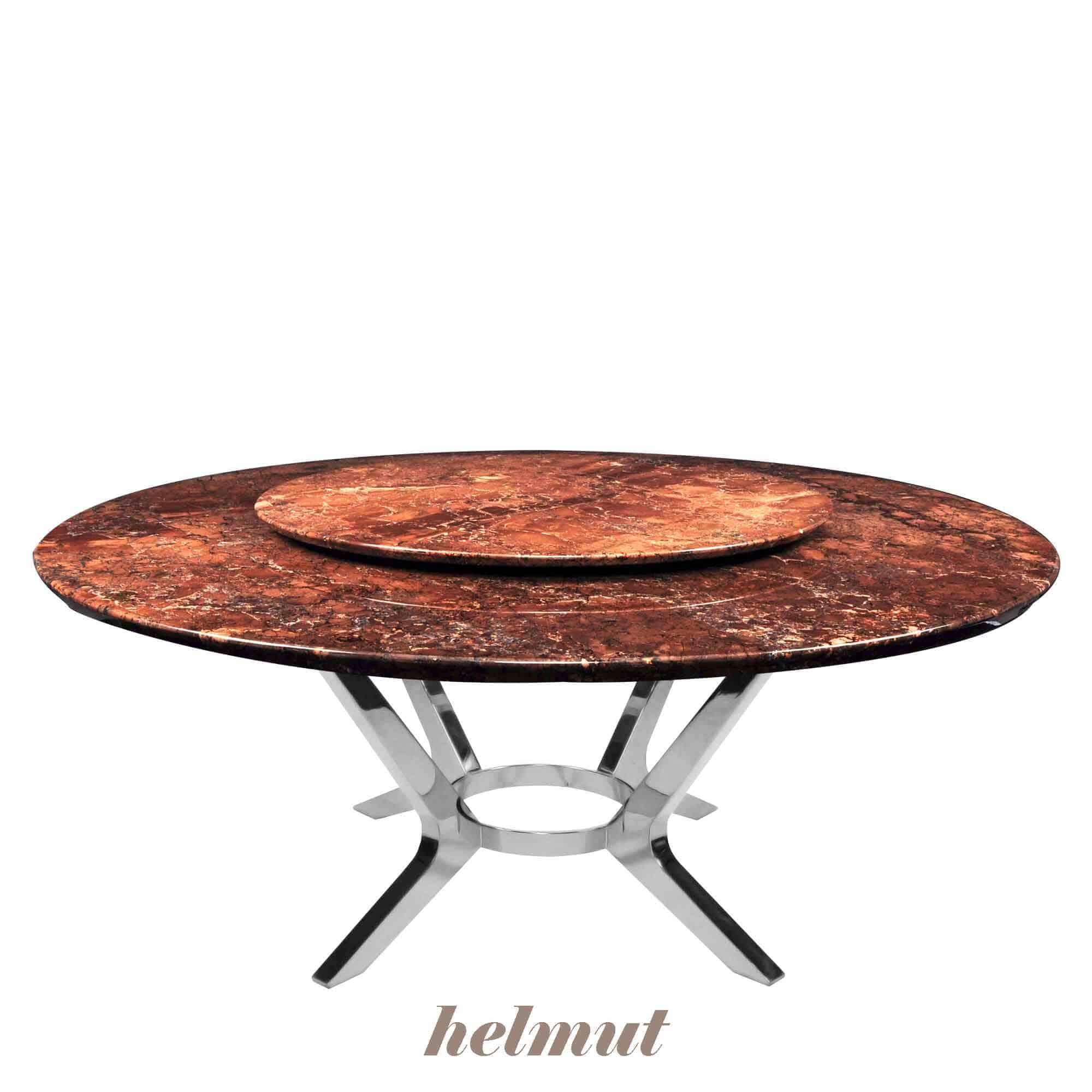 Decasa Round Marble Dining Table Dark Emperador